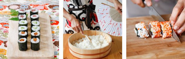 make sushi rice and sushi rolling class with yuki's kitchen