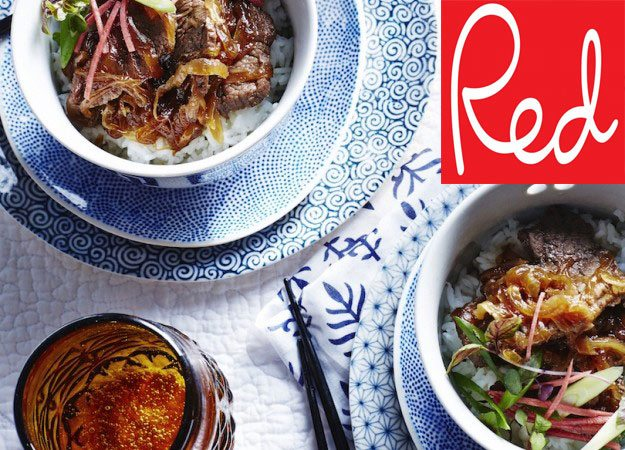healthy japanese cooking in red magazine